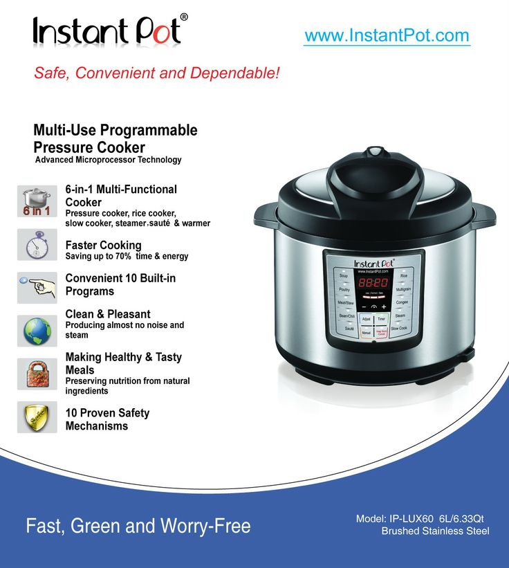 Recipes - Instant Pot IP LUX Series Specifications