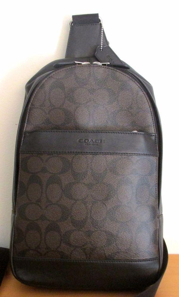 COACH Men 54787 ~ CHARLES PACK ~ Mahogany Signature PVC SLING Bag Backpack~NWT #Coach #Backpack