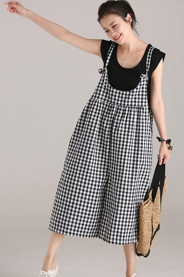 205531e7985 Plus Size Black Plaid Cotton Linen Overalls Women Loose Jumpsuit K5112