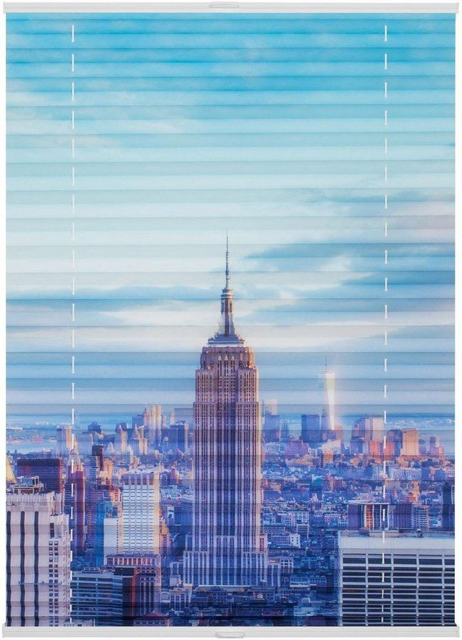 LICHTBLICK Plissee, Lichtblick, »Klemmfix verspannt, Motiv New York«, Faltenstore, Lichtschutz, Fixmaß, ohne Bohren