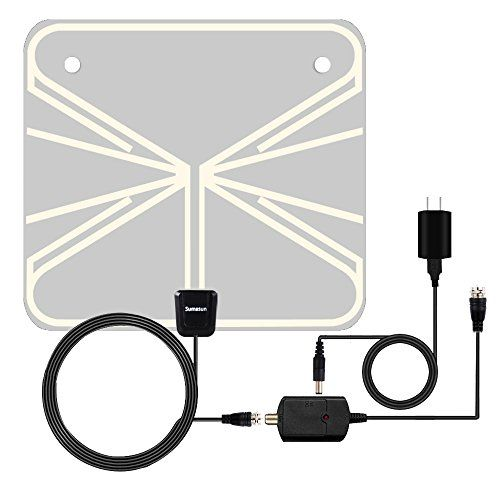 TV Antenna, Sumasun Indoor HDTV Antenna for Digital TV 50 Miles with Detachable Amplifier Signal Booster, USB Power Supply and 16.5FT Coaxial Cable, Ultra Thin and Light(Transparent)  SUMASUN INDOOR TV ANTENNA: Free for Life! You can get access to digital over-the-air (OTA) TV broadcasts from local television stations including local news, weather forecase, SUPER BALL&Basketball game and Enducational, Sitcomes, Kids amd sports programs etc! Enjoy crystal clear HDTV shows, 720p, 1080i, ...