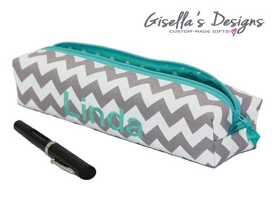 Personalized brush and Pencil case, Custom made box zipper Pouch, Handmade Brush holder, monogram Cosmetic bag, makeup bag