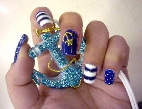 nails, nails, nails, #nails: Nails Art, Nails Design, Sailors Nails, Beaches Nails, Summer Nails, Sailing Away, Nautical Theme, Sailors Theme, Nautical Nails