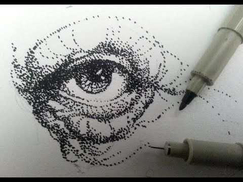 How to draw shade with stippling, stipples, or dots - YouTube