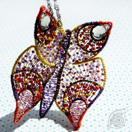 Butterfly; originally headdress/pendant, now fixed in headdress variant; steel, coton, rocail; nycrame; by Nady (http://www.nady.cz/ostatni/celenka-vesely-motyl-102/)