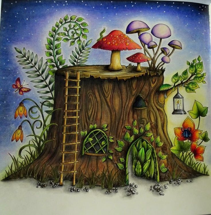 Adult Coloring Books Colouring Tree Stumps Johanna Basford Tag Photo Prismacolor Treehouses Secret Gardens