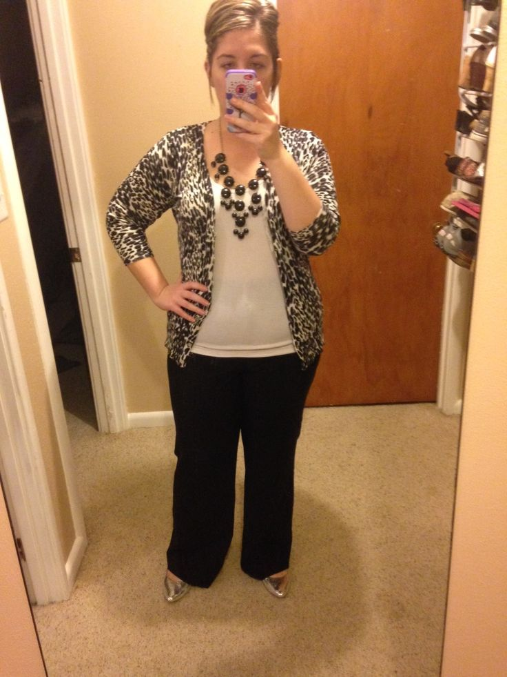 Plus Size Teacher Clothes Pants-Bergners Tank-Maurices Cardigan-Maurices Necklace-Maurices Shoes-Walmart