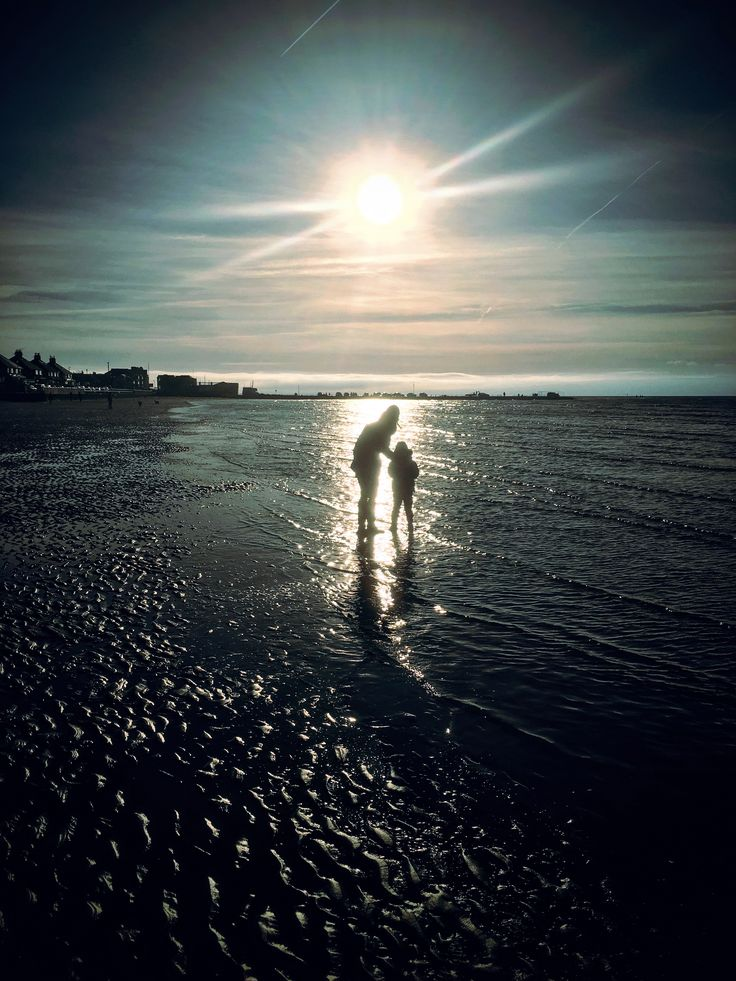 Winter silhouettes on the beach