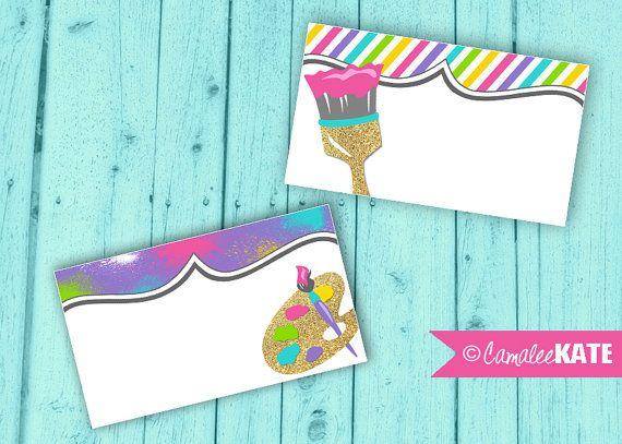 Art Party Printable Food Labels or Favor Tags - Girls Birthday Party themes - Painting Party - Paint - paintbrush - gold glitter - neon - purple - hot pink - aqua blue - lime green - yellow - rainbow - girls birthday ideas - tweens - tween girl - diy party decorations - etsy.com