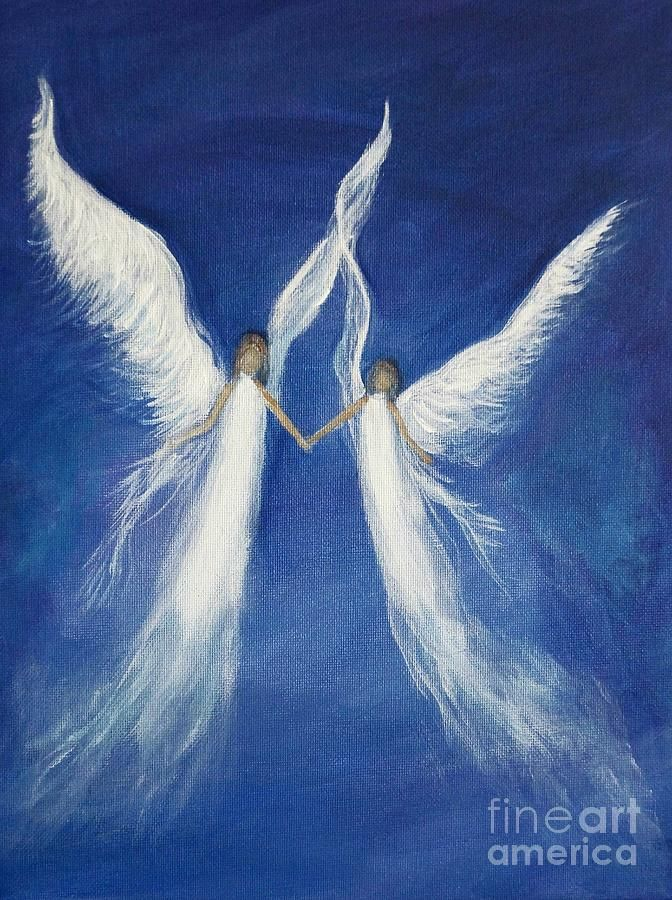 My Angels Painting by Leslie Allen