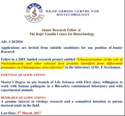 Global Institute of Biosciencse and Technology: Walk-In Interview forJuniorResearch Fellow @ The ...
