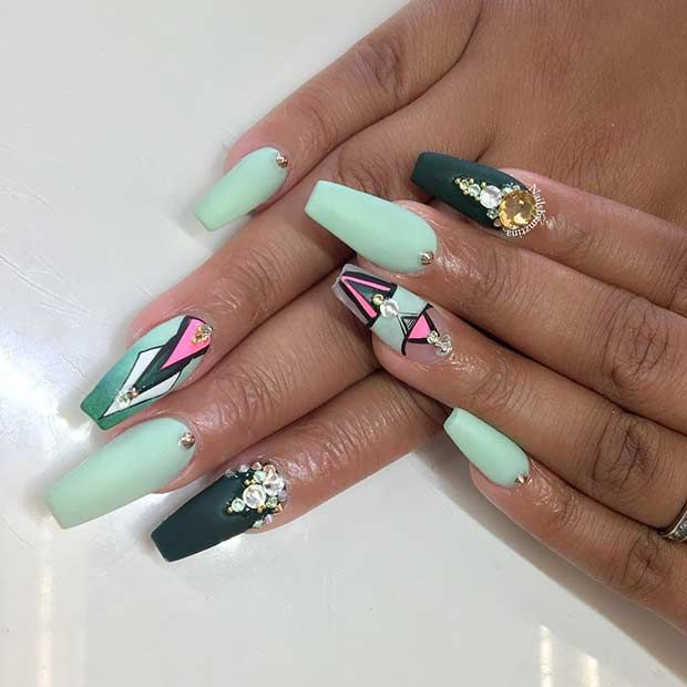 Cute Mint Nail Design for Coffin Shaped Nails