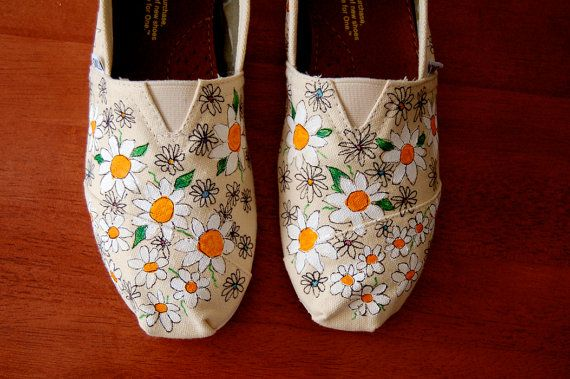 Crazy Daisy TOMS -  custom painted in your size, your colors, shoes included