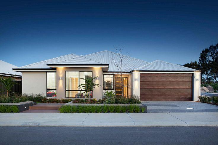 'The Equinox' elevation. 17m Frontage. Raised roof, contrast render, timber look-alike garage door. || View Floorplan on: http://www.pinterest.com/pin/575264552374223656/ || #elevation #facade #house #home #smarthomesforliving