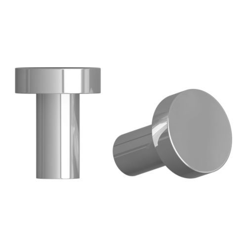 ATTEST Knob, stainless steel color $4.99 / 2 pack  http://www.ikea.com/us/en/catalog/products/50138750/