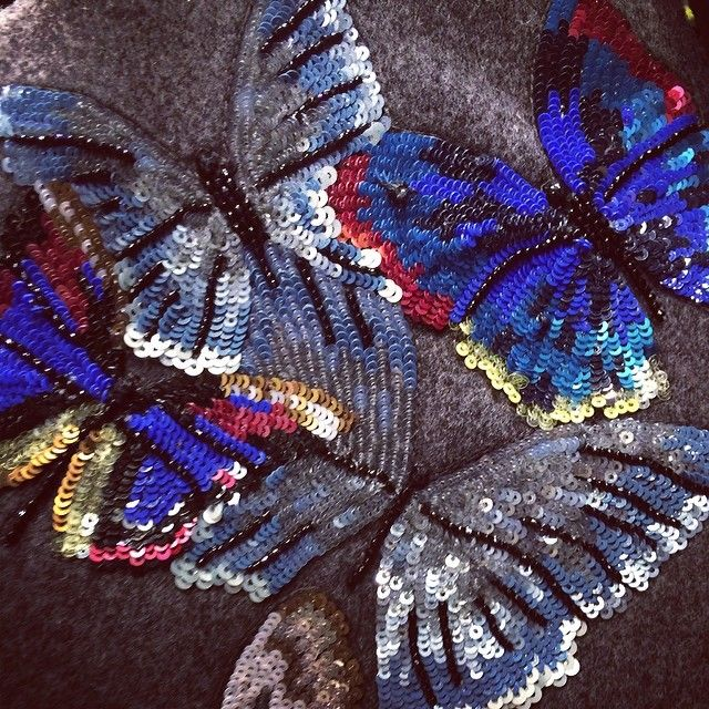 Sequined butterfly embellishment at #Valentino @Maison ecologique ecologique ecologique Valentino #PFW