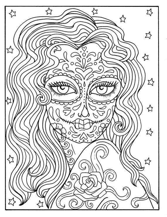 5 Pages Day Of The Dead Girls Digital Coloring Book Coloring Pages