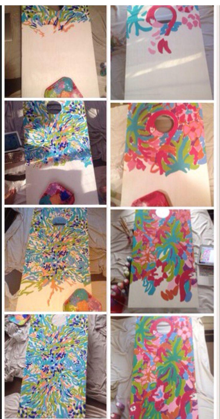 My Lilly Pulitzer cornhole board painting process!
