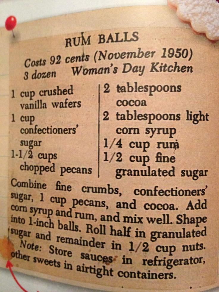Rum Balls...maybe modify for rum ham?