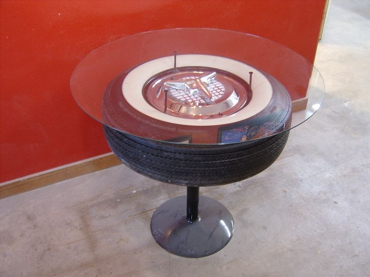 """This tire table adds that extra flair to your garage, mancave, gameroom or business! Dimensions: 18"""" H x 24"""" W Allow 4 to 6 weeks for delivery. Click to buy!"""