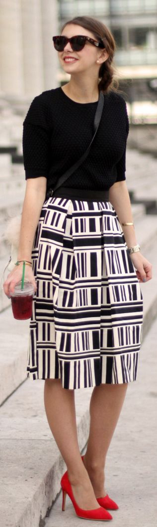 Black Top, Black And White Midi A-skirt, Tights - Sheer, Colorful Heels for Pop