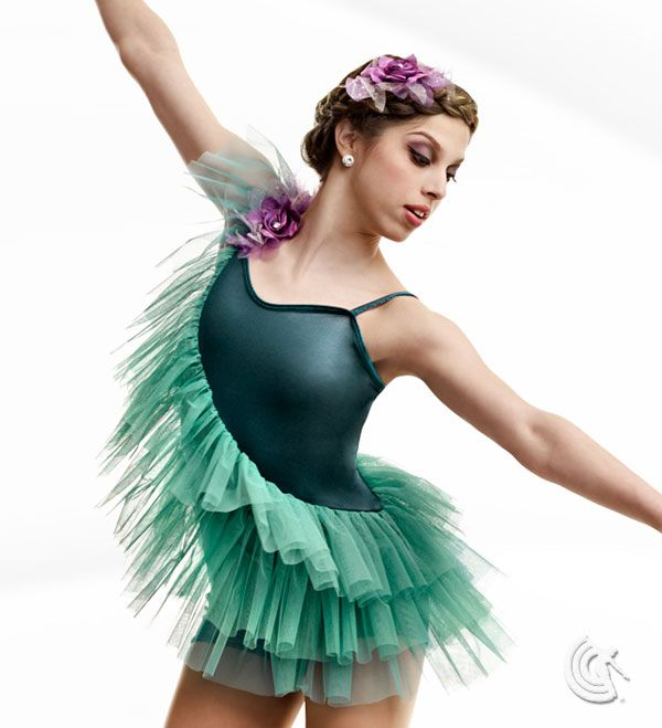 Curtain Call Costumes® - Woodland Dreams Petrol Silhouette poly/spandex boy short leotard with sheer motion mesh asymmetrical bodice ruffles and flower shoulder trim. INCLUDES: flower barrette. https://curtaincallcostumes.com/products/product-page-t.php?prodid=7557