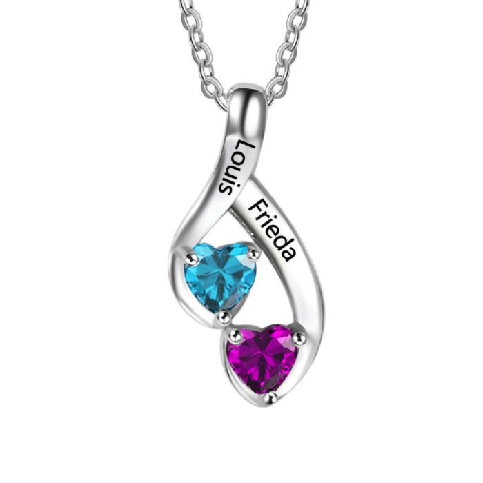 Post Included Aus Wide and to most international countries! >>>  Open Heart Swirl Double Birthstone Necklace - 925 Sterling Silver