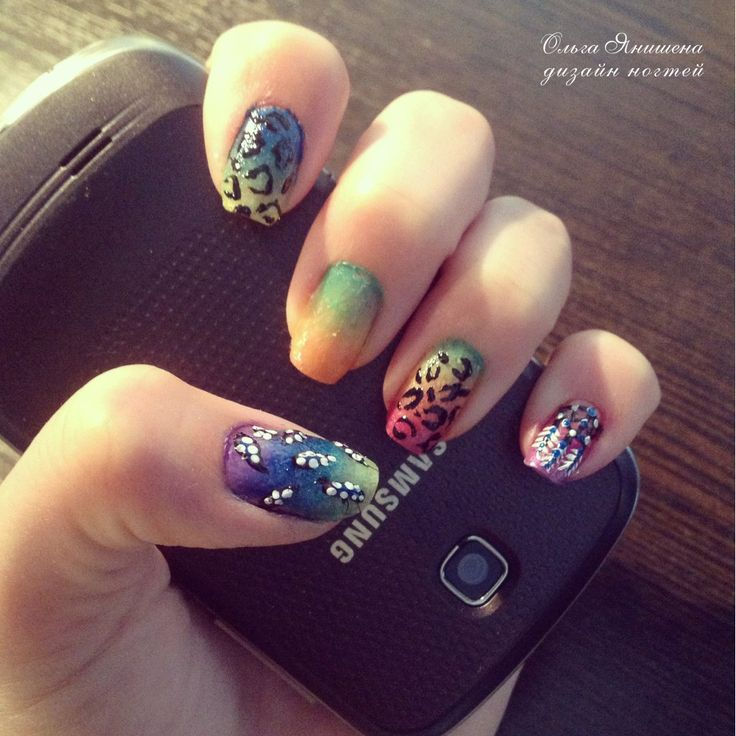 Животный принт - градиент #nail #nails #ногти #маникюр #рисунок #зебра #леопард #стразы #радуга #ловецснов #ловец #снов #nailart #art #naildesign #design #nailstyle #style #zebra #leopard #panther #rainbow #dreamcatcher
