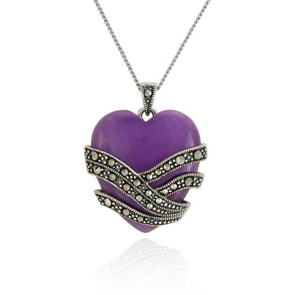 Belk  Co. Purple Genuine Marcasite And Purple Agate Heart Pendant In... ($140) ❤ liked on Polyvore featuring jewelry, pendants, necklaces, purple, marcasite jewelry, sterling silver jewelry, agate pendant, charm pendant and agate jewelry