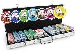 Mallette Royal Flush 500 jetons - Pokeo.fr - Mallette de poker en aluminium 500 jetons Royal Flush en polypropylène 11,5g + 2 jeux de cartes en carton plastifié + 1 livret de règles du jeu Pokeo.
