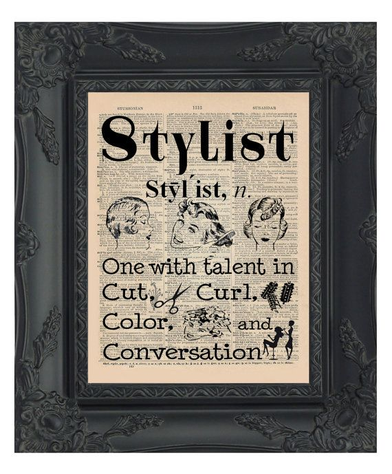 Stylist Dictionary Print Hair Salon Decor Stylist by OldBookSmith                                                                                                                                                                                 More