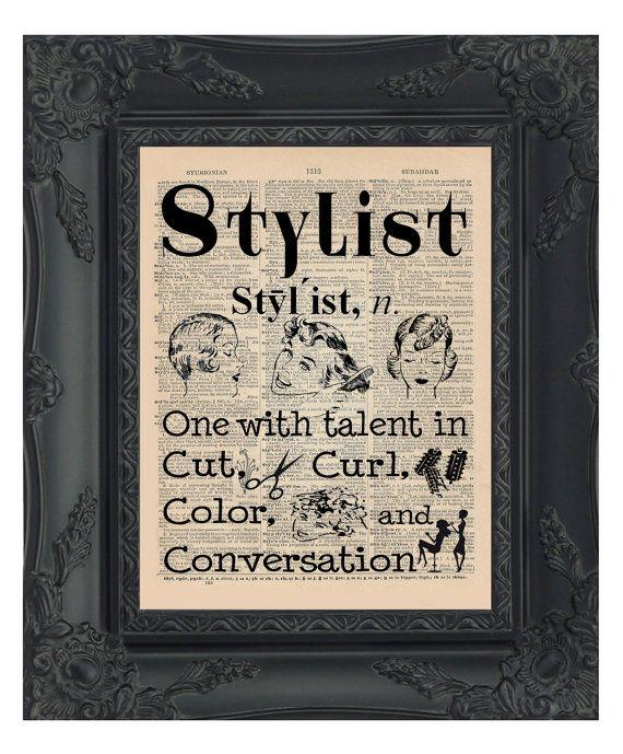 Stylist Dictionary Print Hair Salon Decor Stylist by OldBookSmith