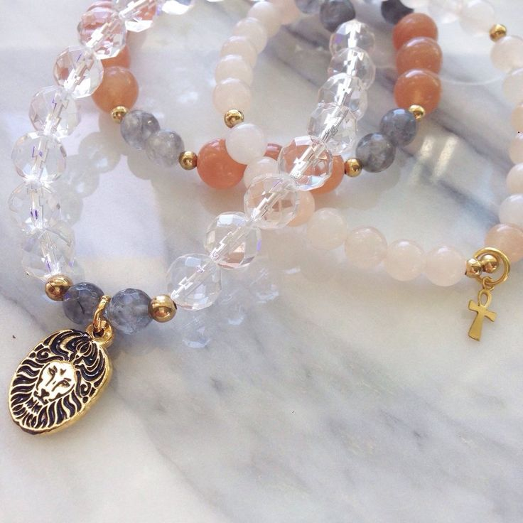 """Beautiful, Powerful Sunstone, Quartz and Aventurine """"Authenticity"""" Lionheart Gemstone Bracelet Stack by #MikaMalaPride. Feel powerful expanded consciousness supporting your balance and healing with grounded, centered clarity."""