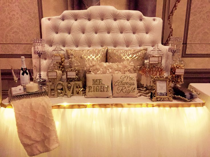White Gold And Champagne Candy Bar For A Wedding Reception Table Design Tulle