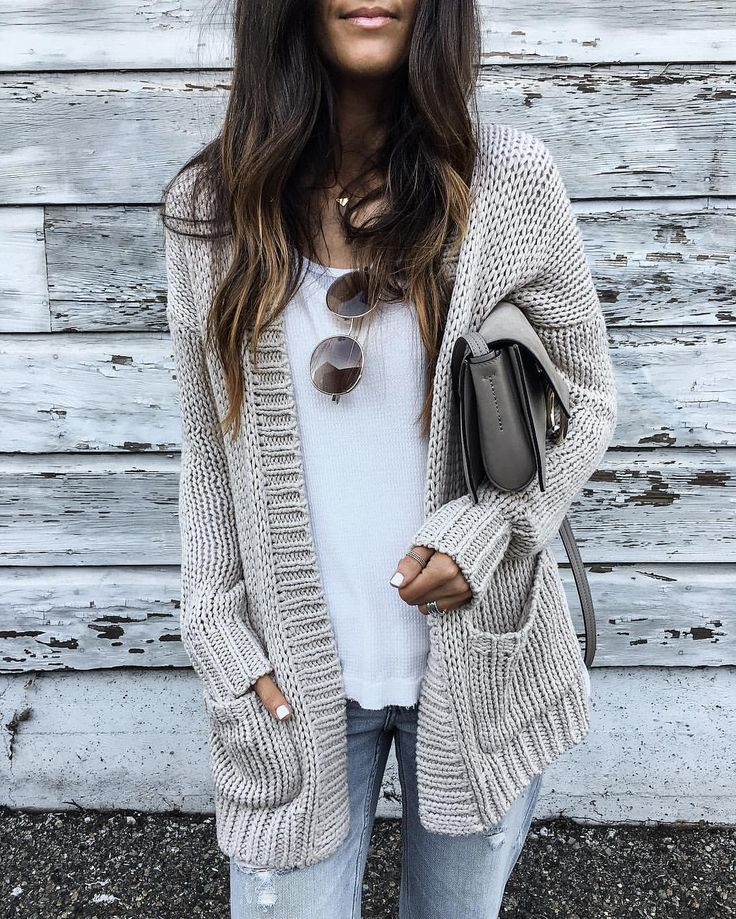 Cozy neutral cardigan with a white tee and jeans