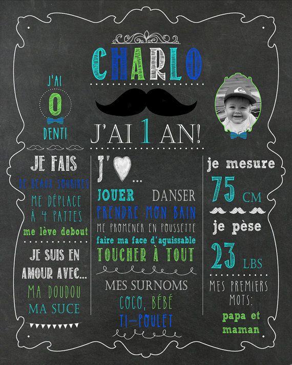 Affiche personnalisée premier anniversaire thème moustache sur Momy Boutique Etsy.
