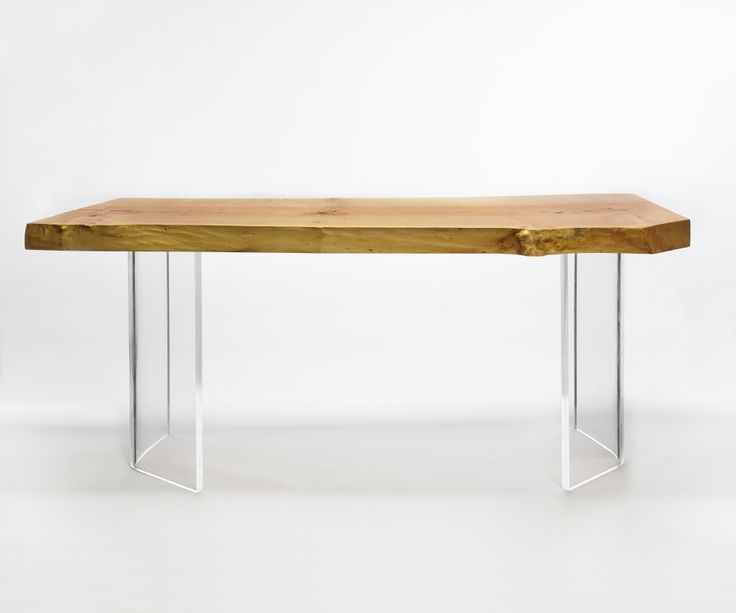 Shima Desk: Western Maple natural edge top with clear curved acrylic legs. Designed by Kirk Van Ludwig.