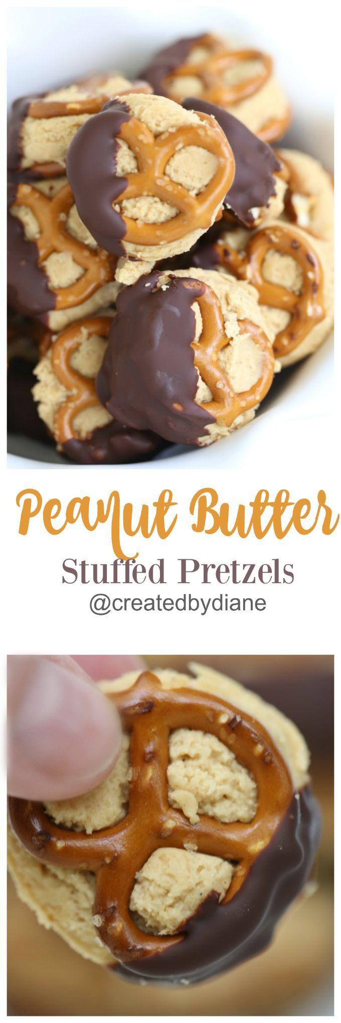 Sweet and salty snacking… who wouldn't love a treat like that?  Thesepeanut butter stuffed pretzels will have you wishing it was snack time! I don't know about you, but pretzels are a favorite quick snack around my house. They're crispy, crunchy, salty and oh-so-satisfying! I also love the many varied shapes they come in.Just keeps things fun, and I'm all about fun… especially delicious fun! Theykeepthings fun, and I'm all about fun… especially delicious fun! Of course, pretzels go with…