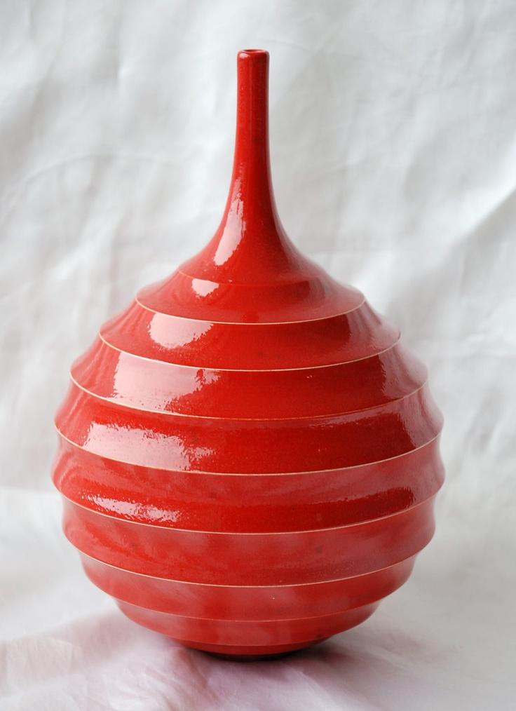 John Parker Red Ribbed Vase