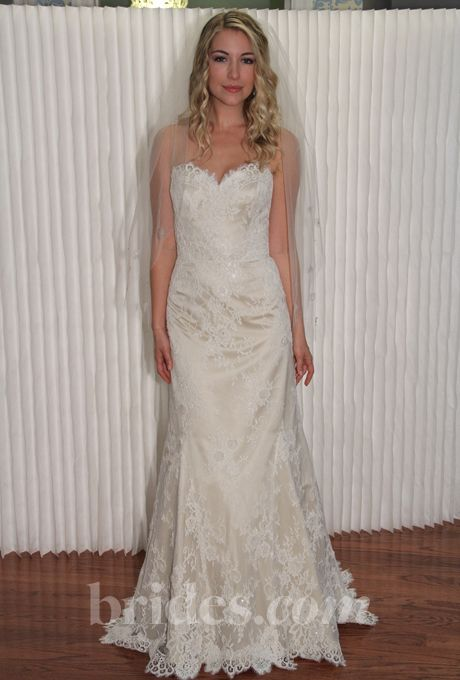 """Brides.com: Modern Trousseau - Fall 2013. """"Ainsley"""" strapless lace A-line wedding dress with a sweetheart neckline, Modern Trousseau  See more Modern Trousseau wedding dresses in our gallery."""