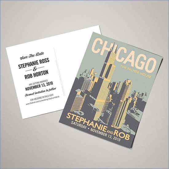 Chicago Save the Date Postcards