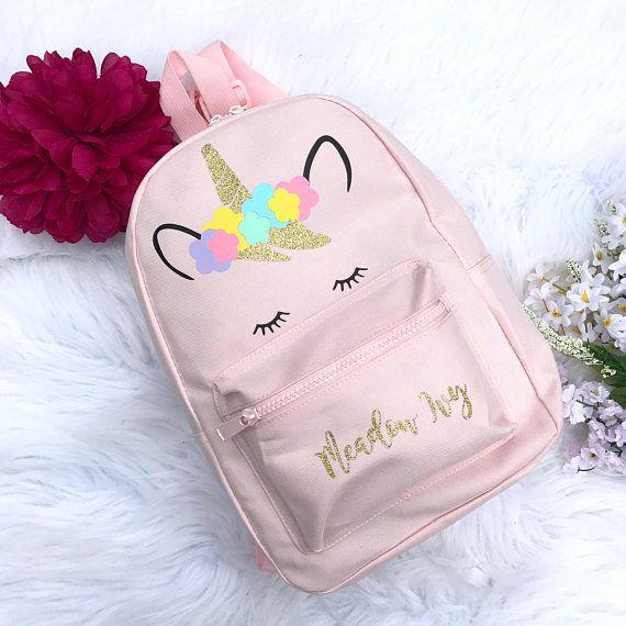 Personalised Unicorn Backpack Girls Unicorn Personalised Girls Unicorn Bag