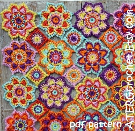 Crochet pattern flower baby blanket by ATERGcrochet