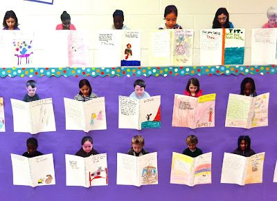 At the end of the school year each student picks his/her favorite book they've read that year. Then on a piece of card stock they draw an illustration and write a brief summary of their chosen book. Create a cute reading display with the card stock books and student pictures.