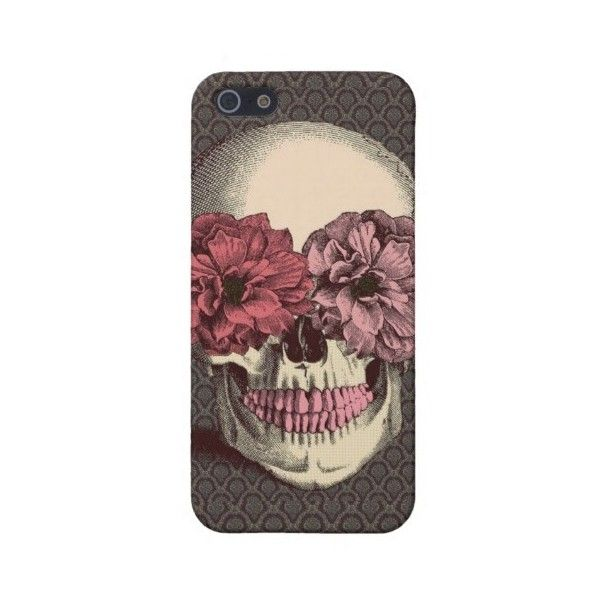 Girly Grunge Floral Skull iPhone 5 Case ($39) ❤ liked on Polyvore featuring accessories, tech accessories, phone cases, phones, iphone and electronics