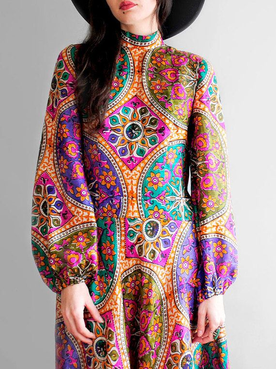 70's Maxi dress // Silk Indian Dress // Boho by WhiteLightShop