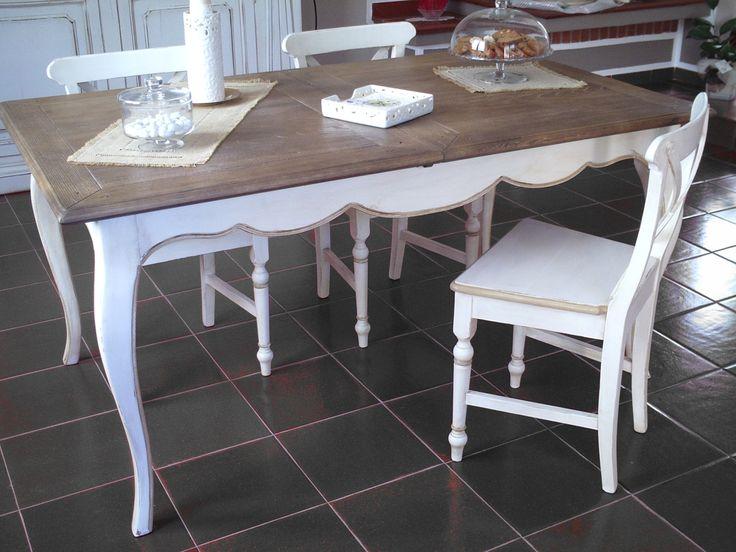 tavolo bicolore stile francese decapè #tavolorettangolare #tavoloprovenzale