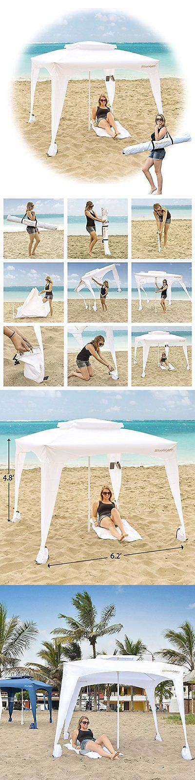 Canopies and Shelters 179011: White Large Cabana Beach Tent Canopy Umbrella Outdoor Sun Uv Shelter Camping New -> BUY IT NOW ONLY: $76.22 on eBay!
