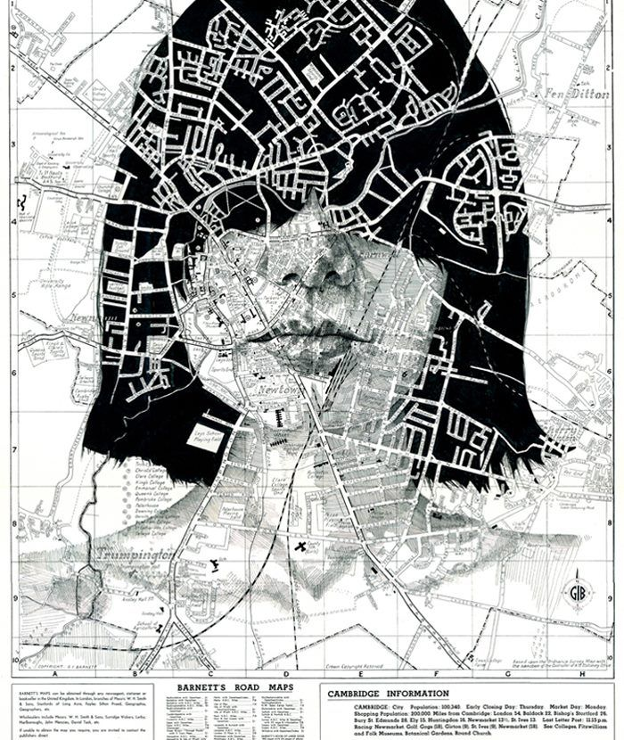 Illustrator Ed Fairburn's Maps series turns road and subway maps into interesting canvases for his ink and pencil portraits. The artist utilizes the multicolored, patterned surface of each map to serve as an eye-catching attribute that echoes the complex textures found in the human form.
