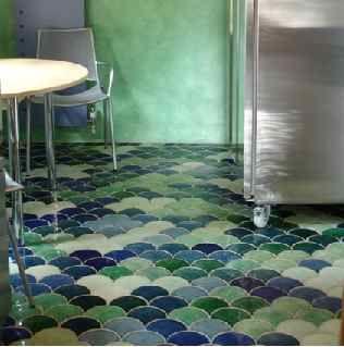 ceramic tiles: Fishscale, Green Tile Bathroom, Bathroom Mermaids Tile, Master Bath, Bathroom Ideas, Blue Tile Bathroom, Fish Scales, Scale Tile, Ceramics Floors Tile